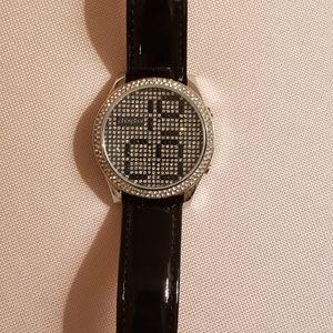 Phosphor Swarovski Reveal Black Crystal Watch